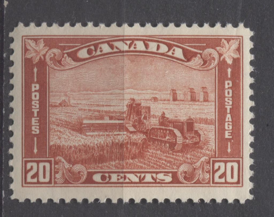 Canada #175 (SG#301) 20c Deep Indian Red Harvesting Wheat 1930-35 Arch Issue VF-75-J LH Brixton Chrome