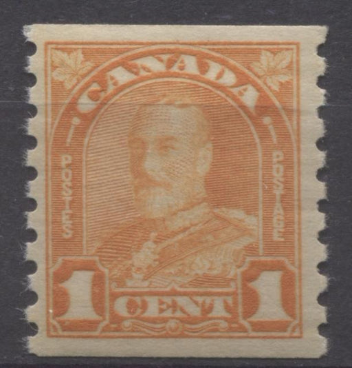 Canada #178 (SG#304) 1c Bright Orange 1930-32 Arch Issue Coil Cream Gum VF-80 OG Brixton Chrome