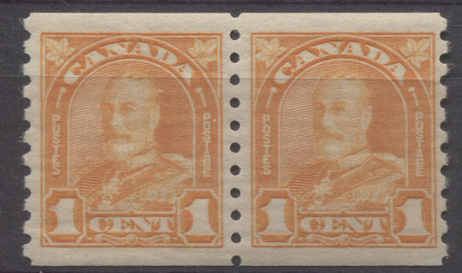 Canada #178 (SG#304) 1c Light Yellow Orange 1930-32 Arch Issue Coil Pair VF-80 NH Brixton Chrome
