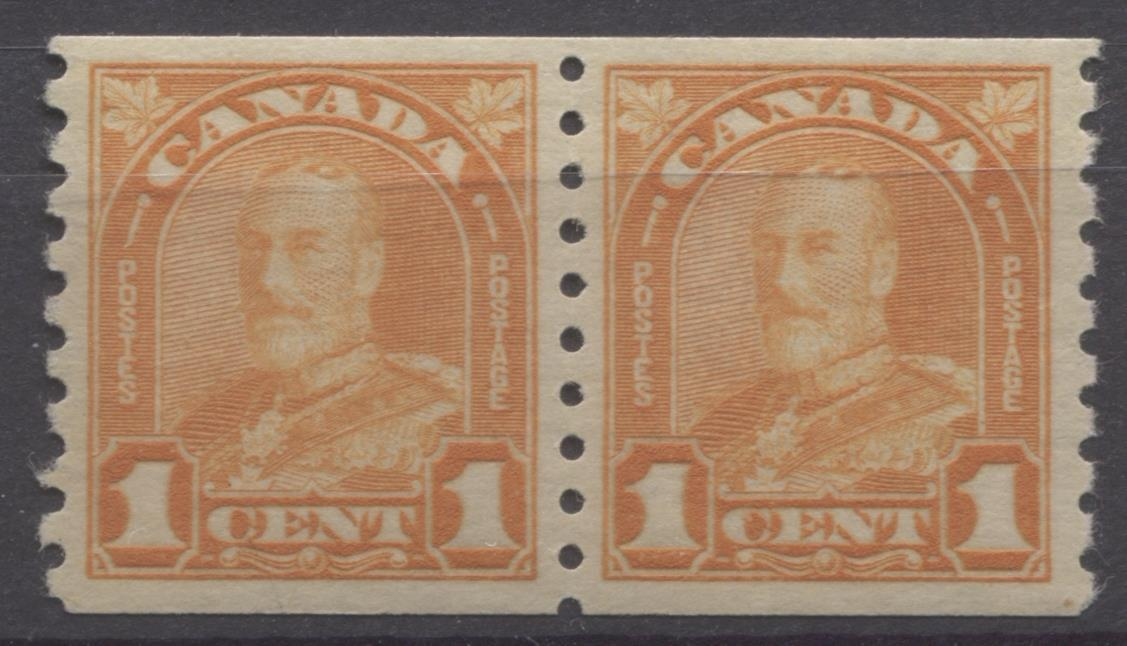 Canada #178 (SG#304) 1c Yellow Orange 1930-32 Arch Issue Coil Pair VF-84 OG Brixton Chrome