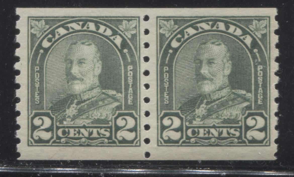 Canada #180 2c Yellowish Green King George V, 1930-1935 Arch Issue, A Very Fine NH Coil Pair Brixton Chrome