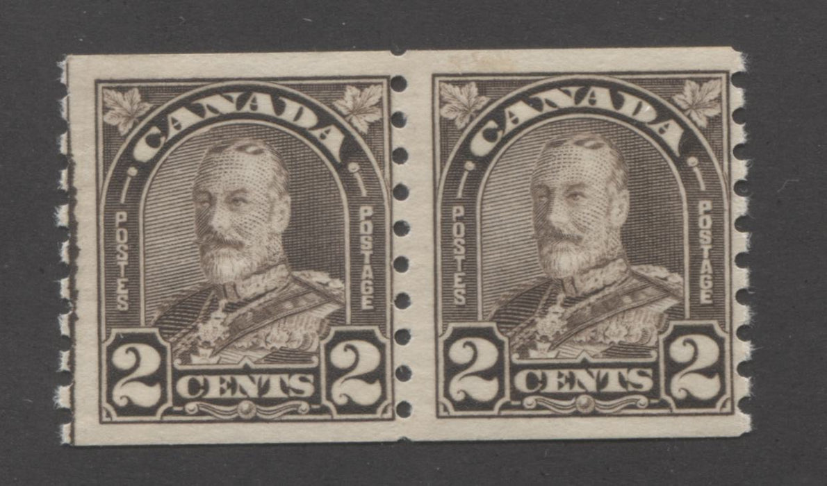 Canada #182 2c Black Brown, King George V 1930-1935 Arch Issue Fine OG Coil Line Pair Brixton Chrome