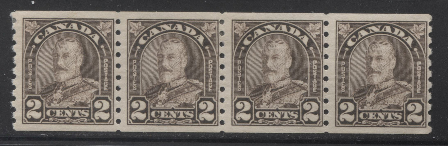 Canada #182 2c Blackish Brown, King George V 1930-1935 Arch Issue Fine Mint OG Coil Strip Brixton Chrome