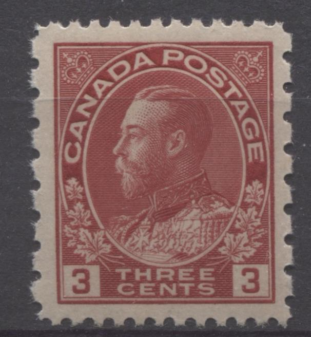 Canada #184 (SG#263) 3c Dark Rose Red 1931 Admiral Provisional Perf 12x8 VF-84 NH Brixton Chrome