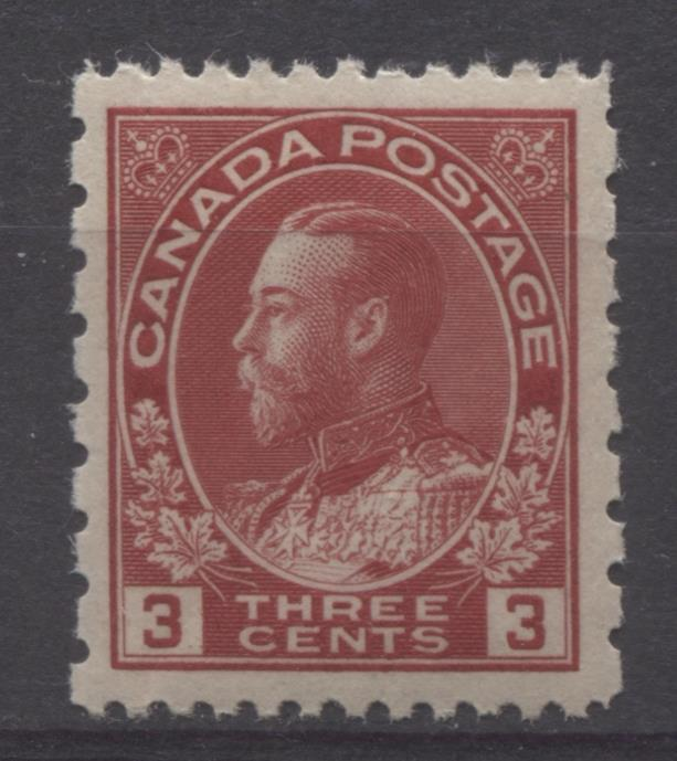 Canada #184 (SG#263) 3c Deep Bright Rose Red 1931 Admiral Provisional Perf 12x8 VF-79 NH Brixton Chrome