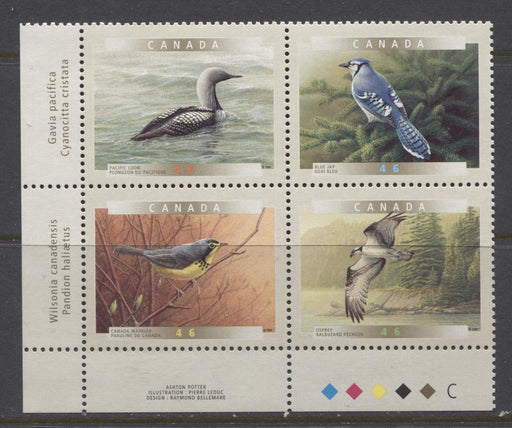 Canada #1842a (SG#1974a) 2000 Birds of Canada LL Inscription Block NF/DF Paper - VF-80 NH Brixton Chrome