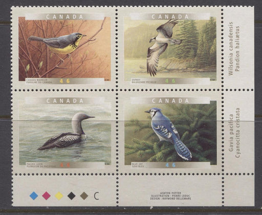 Canada #1842a (SG#1974a) 2000 Birds of Canada LR Inscription Block NF/DF Paper - VF-80 NH Brixton Chrome