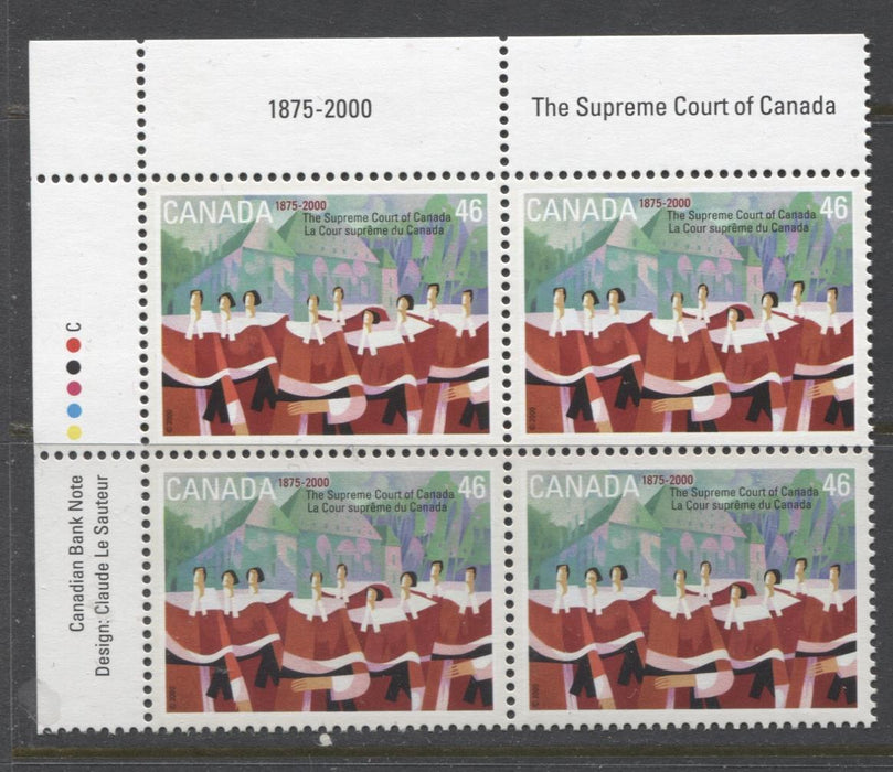 Canada #1847 (SG#1986) 46c Supreme Court UL Inscription Block NF/DF Paper - VF-84 NH Brixton Chrome