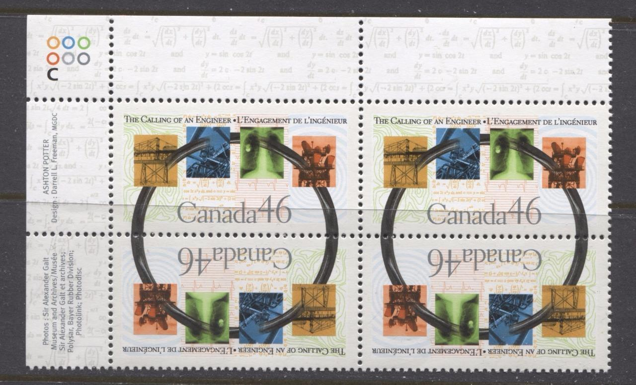 Canada #1848 (SG#1987) 46c Calling of an Engineer UL Inscription Block NF/DF Paper - VF-80 NH Brixton Chrome