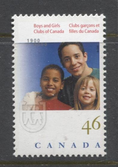 Canada #1857 (SG#2004) 46c Centenary of Boys and Girls Clubs NF/DF Paper - VF-84 NH Brixton Chrome