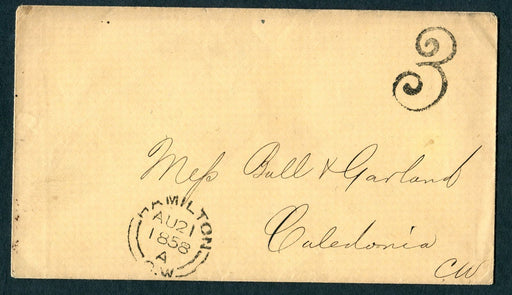 Canada 1858 Very Fine Stampless Cover Sent from Hamilton to Caledonia Brixton Chrome