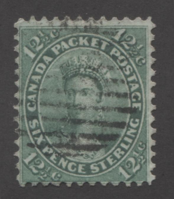 Canada #18a 12.5c Blue Green Queen Victoria, 1859-1867 First Cents Issue, Fine Used Single on Stout Wove Paper, Perf. 12 Brixton Chrome