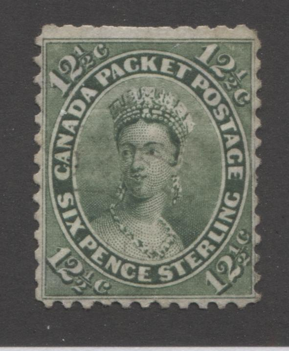 Canada #18ii 12.5c Green Queen Victoria, 1859-1867 First Cents Issue, Very Good Used Single on Stout Wove, Perf. 12 Brixton Chrome