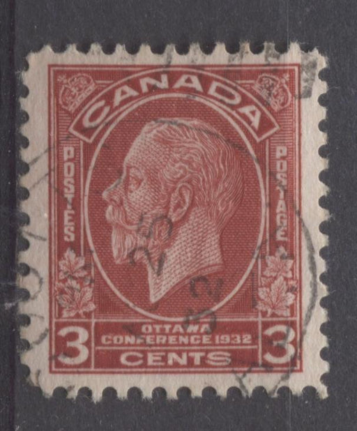 Canada #192 (SG#315) 3c Deep Scarlet 1932 Ottawa Conference Issue - VF-84 Used Brixton Chrome