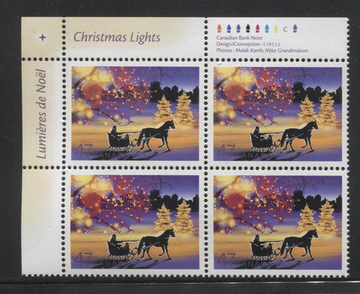 Canada #1922 (SG#2110) 47c 2001 Christmas Lights UL Inscription Blk NF/DF VF-84 NH Brixton Chrome