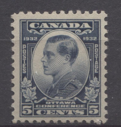 Canada #193 (SG#316) 5c Steel Blue 1932 Ottawa Conference Deep Cream Gum VF-80 OG Brixton Chrome