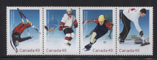 Canada #1939a (SG#2124a) 48c 2002 Winter Olympics Se-Tenant Strip NF/DF Paper VF-84 NH Brixton Chrome