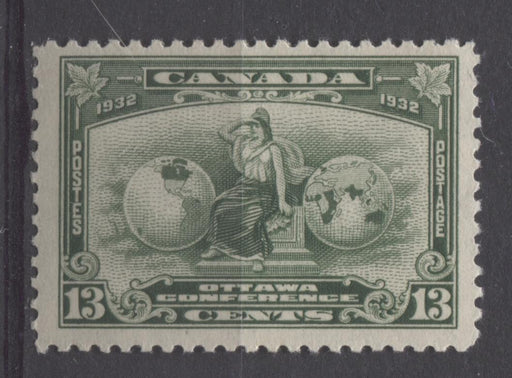 Canada #194 (SG#317) 13c Deep Green 1932 Ottawa Conference Cream Gum F-70 OG Brixton Chrome