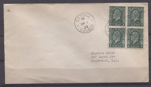 Canada #195 (SG#319) 1c Myrtle Green 1932 Medallion Issue First Day Cover to USA - VF-78 Brixton Chrome