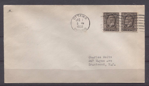 Canada #196 (SG#320) 2c Deep Sepia 1932 Medallion Issue First Day Cover to USA - F-73 Brixton Chrome