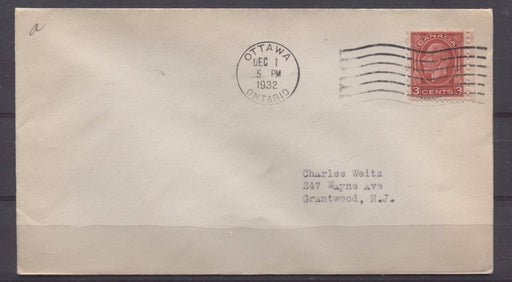 Canada #197 (SG#321) 3c Scarlet Die 1 1932 Medallion Issue First Day Cover to USA - F-73 Brixton Chrome