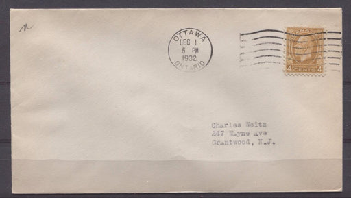 Canada #198 (SG#322) 4c Ochre 1932 Medallion Issue First Day Cover to USA - F-72 Brixton Chrome