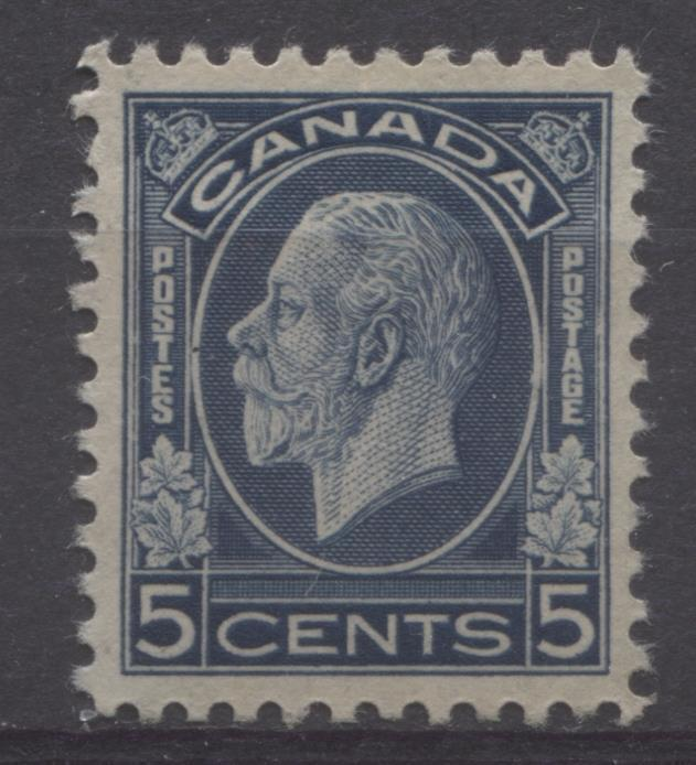 Canada #199 (SG#323) 5c Deep Bright Prussian Blue 1932-35 Medallion Issue Brownish Gum VF-80 OG Brixton Chrome