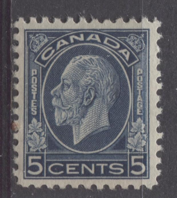 Canada #199 (SG#323) 5c Deep Prussian Blue 1932-35 Medallion Issue Mottled Gum VF-80 OG Brixton Chrome