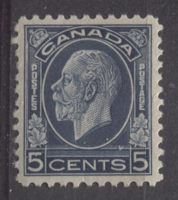 Canada #199 (SG#323) 5c Deep Steel Blue 1932-35 Medallion Issue Mottled Gum VF-80 OG Brixton Chrome