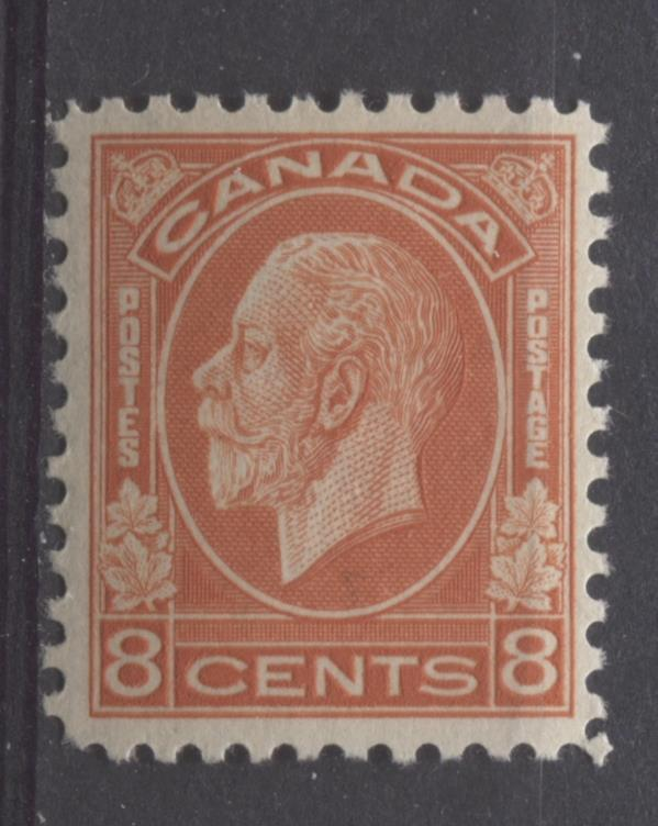 Canada #200 (SG#324) 8c Orange Red 1932-35 Medallion Issue Mottled Brownish Gum F-70 LH Brixton Chrome