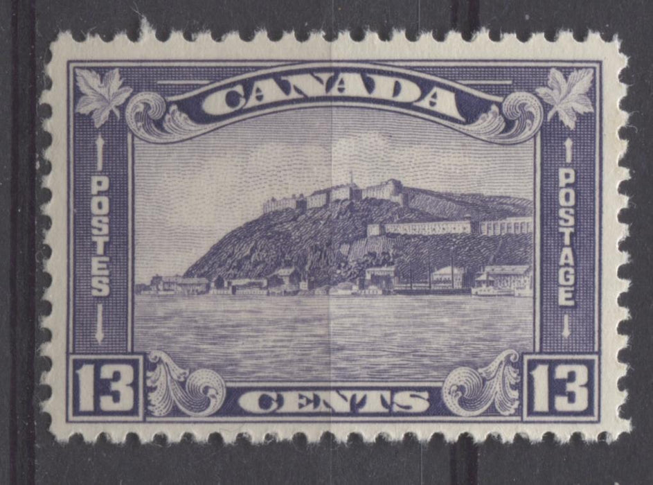 Canada #201 (SG#325) 13c Deep Dull Reddish Lilac 1932-35 Medallion Issue Cream Gum VF-75 LH Brixton Chrome