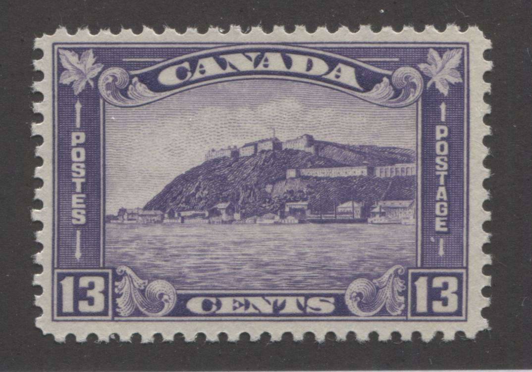 Canada #201i 13c Reddish Violet, Old Quebec Citadel 1932-1935 Medallion Issue Fine NH Mint Single of the 1933 Printing With Yellowish Cream Gum Brixton Chrome