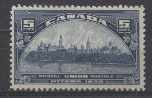 Canada #202 (SG#329) 5c Steel Blue 1933 UPU Meeting Issue Cream Gum F-70 OG Brixton Chrome