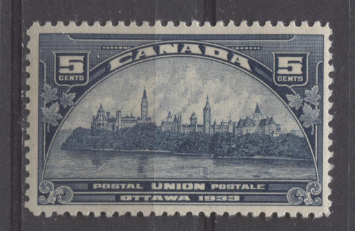 Canada #202 (SG#329) 5c Steel Blue 1933 UPU Meeting Issue Yellowish Cream Gum F-70 OG Brixton Chrome