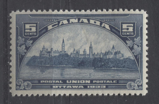 Canada #202 (SG#329) 5c Steel Blue 1933 UPU Meeting Issue Yellowish Cream Gum VF-75-J NH Brixton Chrome