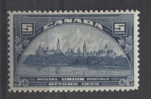 Canada #202 (SG#329) 5c Steel Blue 1933 UPU Meeting Issue Yellowish Cream Gum VF-75 NH Brixton Chrome