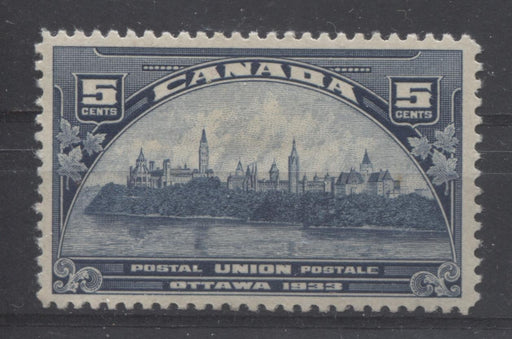 Canada #202 (SG#329) 5c Steel Blue 1933 UPU Meeting Issue Yellowish Cream Gum VF-78 OG Brixton Chrome