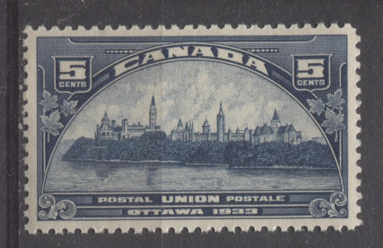 Canada #202 (SG#329) 5c Steel Blue 1933 UPU Meeting Issue Yellowish Cream Gum VF-80 NH Brixton Chrome