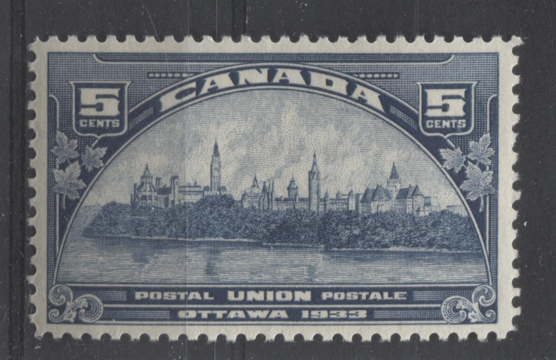 Canada #202 (SG#329) 5c Steel Blue 1933 UPU Meeting Issue Yellowish Cream Gum VF-80 OG Brixton Chrome