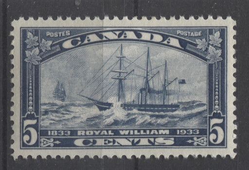 Canada #204 (SG#331) 5c Steel Blue 1933 Royal William Issue Cream Gum VF-82 OG Brixton Chrome