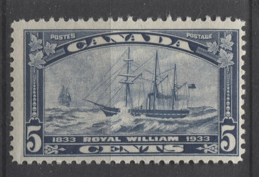Canada #204 (SG#331) 5c Steel Blue 1933 Royal William Issue Yellowish Cream Gum F-65 NH Brixton Chrome