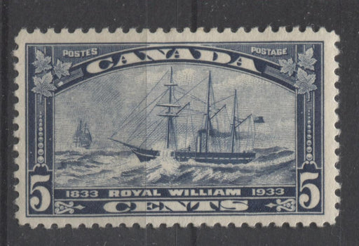 Canada #204 (SG#331) 5c Steel Blue 1933 Royal William Issue Yellowish Cream Gum VF-75 OG Brixton Chrome