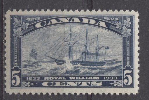 Canada #204 (SG#331) 5c Steel Blue 1933 Royal William Issue Yellowish Cream Gum VF-78 NH Brixton Chrome