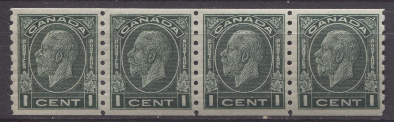 Canada #205 (SG#326) 1c Deep Myrtle Green 1932-35 Medallion Issue Coil Strip of 4 VF-80 NH Brixton Chrome