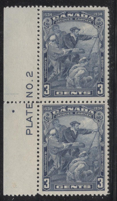 Canada #208 3c Steel Blue Jacques Cartier, 1934 400th Anniversary of Discovery of Canadfa A Very Fine LH Left Plate 2 Vertical Pair Brixton Chrome