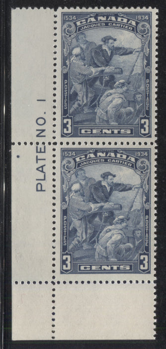 Canada #208 3c Steel Blue, Jacques Cartier 1934 400th Anniversary of Discovery of Canadfa A Very Fine LH Plate 1 Lower Left Vertical Pair Brixton Chrome