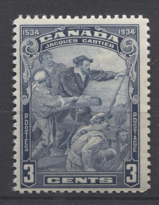 Canada #208 (SG#332) 3c Deep Steel Blue 1934 Jacques Cartier Issue Cream Gum F-70 NH Brixton Chrome