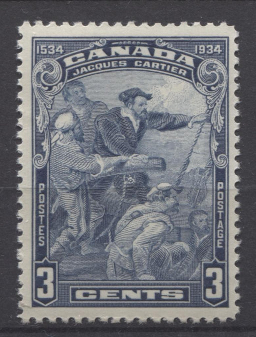 Canada #208 (SG#332) 3c Deep Steel Blue 1934 Jacques Cartier Issue Cream Gum VF-75 NH Brixton Chrome