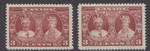 Canada #213 (SG#337) 3c Dark Rose Red 1935 Silver Jubilee 2 Different Gum Types VF-75 OG Brixton Chrome