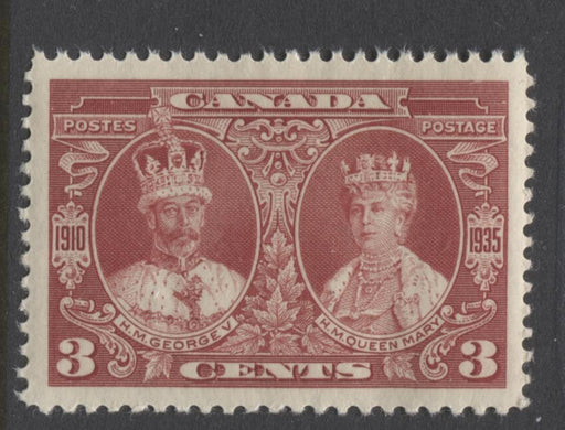 Canada #213 (SG#337) 3c Deep Rose Red 1935 Silver Jubilee Cream Gum Coarse Mesh Paper VF-84 NH Brixton Chrome
